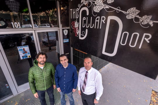 Marc Dwelle, left, Tate Darwin and Ryan Sullivan plan to reopen the Cellar Door in Downtown Visalia.