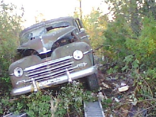The 1948 Plymouth sat on a pile of rocks on the Frick farm east of Merrill for 50 years.