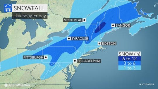 A mix of snow and sleet is expected to hit the Lower Hudson Valley Thursday.