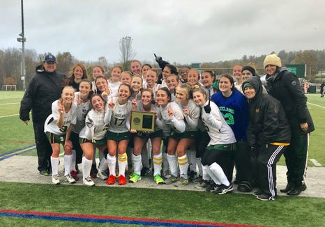 The Lakeland field hockey team after winning the 2018 Section 1 Class B championship. This marked Lakeland's 10th consecutive Section 1 title.