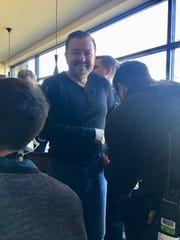 "Ricky Gervais at City Limits Diner in White Plains as part of a ""Comedians in Cars Getting Coffee"" segment."