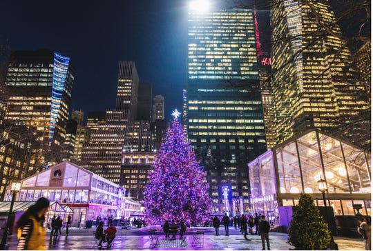 the tree will be lit at the bryant park winter village on dec 4