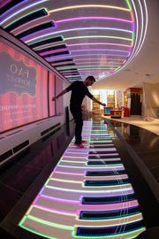 "FAO Schwarz, the star of the Tom Hanks film ""Big,'' will open its first store in three years on Nov. 16. Instead of returning to its previous location on Fifth Avenue, the new flagship, complete with its iconic, giant keyboard, will be in Rockefeller Plaza.  --    Photo by Robert Deutsch, USA TODAY staff"