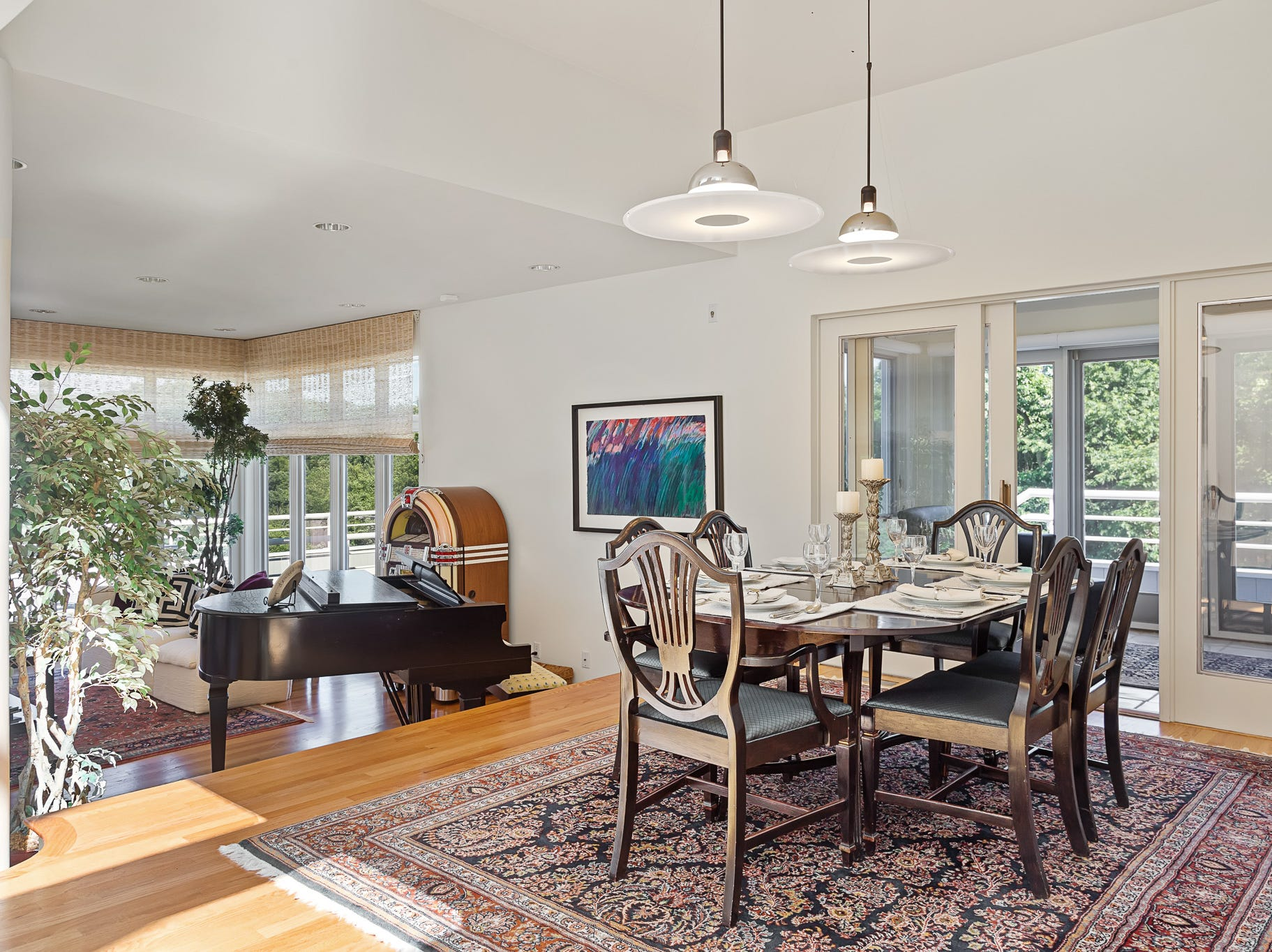 The dining area opens to a deck at 3611 Centerville Road in Greenville.