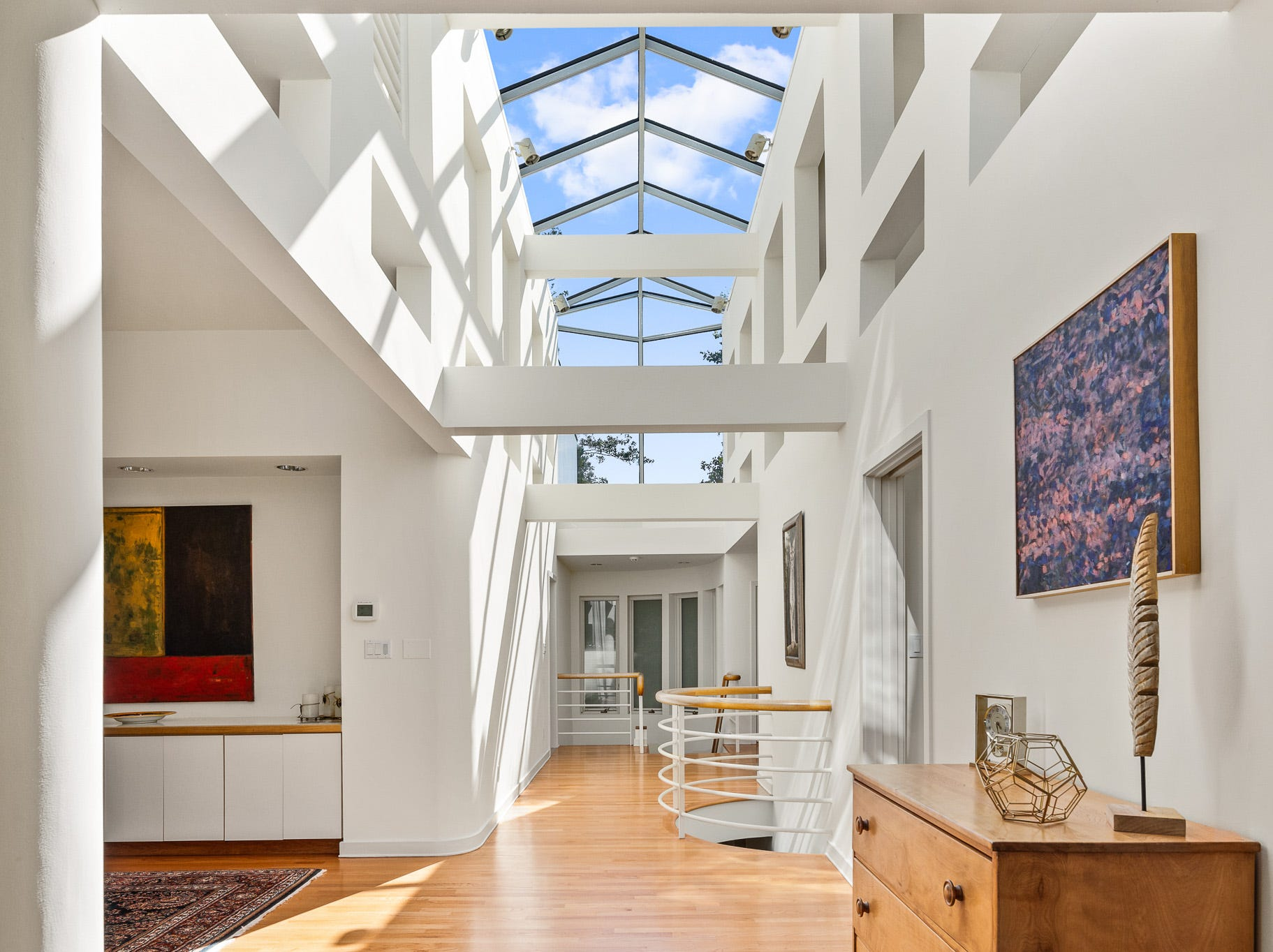The house at 3611 Centerville Road in Greenville features beams and an exposed glass ceiling.
