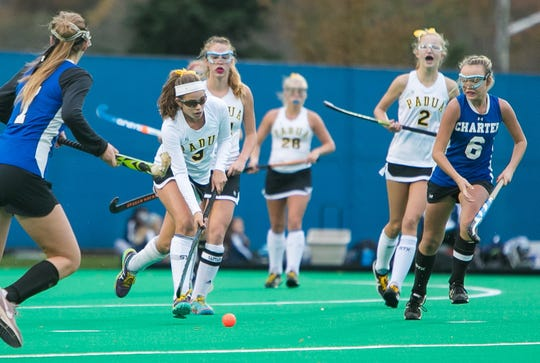 Junior Anna Getty (center) is among the state's top field hockey players for Padua, which is ranked third in Division I.