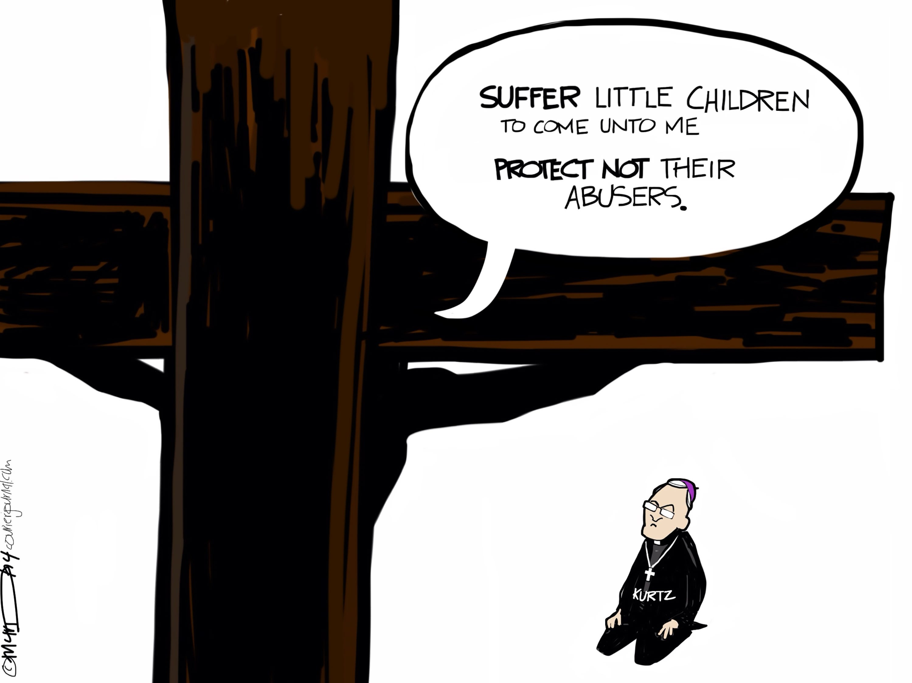 Archbishop Joseph Kurtz has been head of the Roman Catholic Archdiocese of Louisville, Kentucky since 2007. The cartoonist's homepage, courier-journal.com/opinion