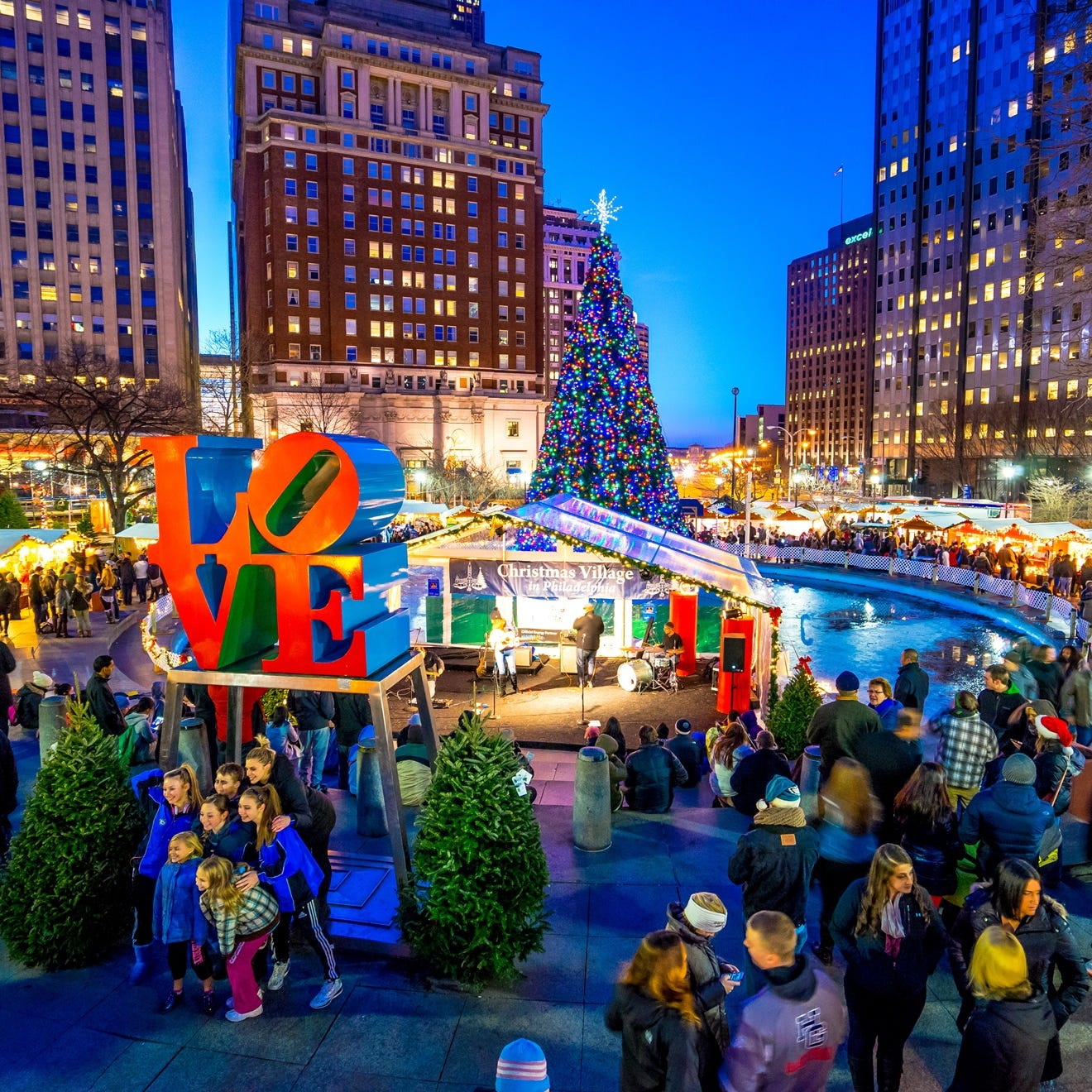 Philadelphia's popular Christmas Village includes a heated garden serving mulled wine, daily concerts and a German grill serving favorites like bratwursts, Belgian fries and strudel.  The Philadelphia area was ranked sixth for activities and weather