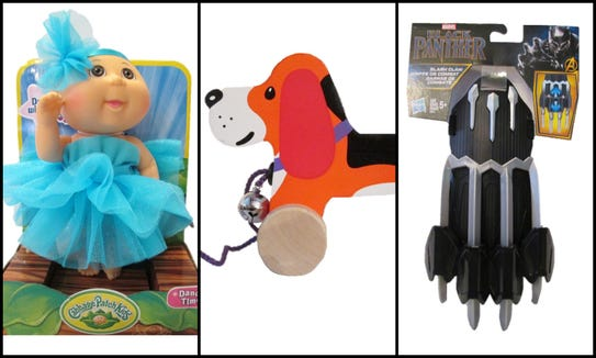 Cabbage Patch Kids Dance Time Doll, Chien A Promener Pull Along Dog and  Marvel Black Panther Slash Claw all made the 10 Worst Toys  of 2018 list from W.A.T.C.H.