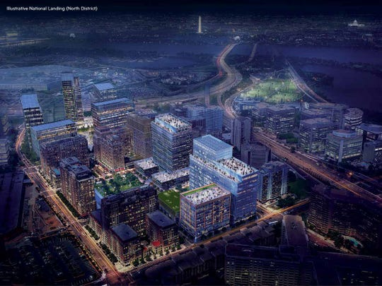 An artist's rendering of the North Landing development that's been proposed as part of the site of Amazon's new headquarters in Arlington, Virginia.