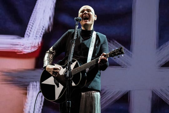 The Smashing Pumpkins' Billy Corgan performing in London last month, as part of the rock band's globe-trotting reunion tour.
