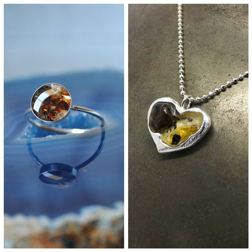 Moms are turning their child's umbilical cord stump into jewelry pieces like these.