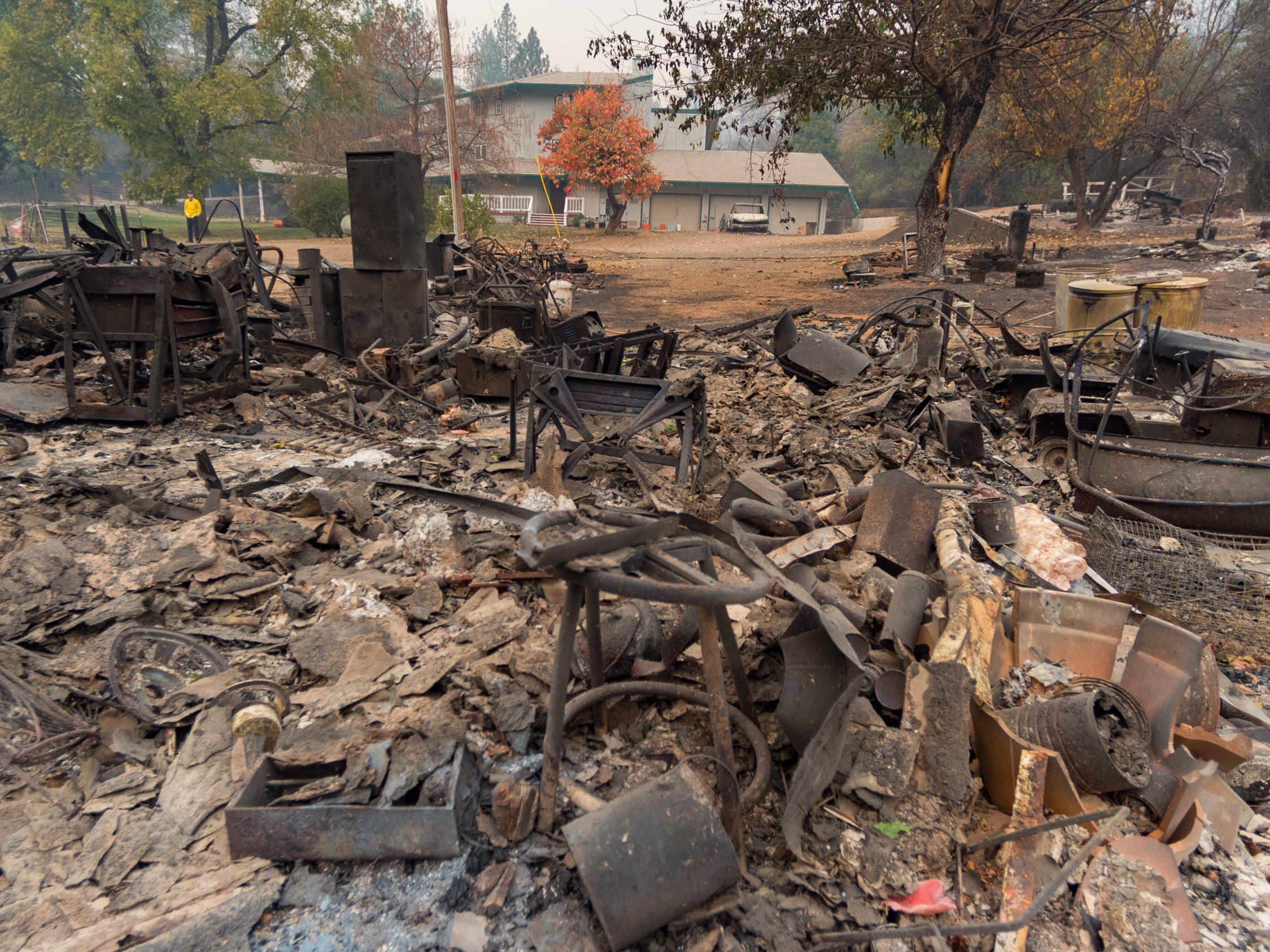 The Camp Fire causes extensive destruction near Butte Valley, Calf., Monday, Nov. 12, 2018.