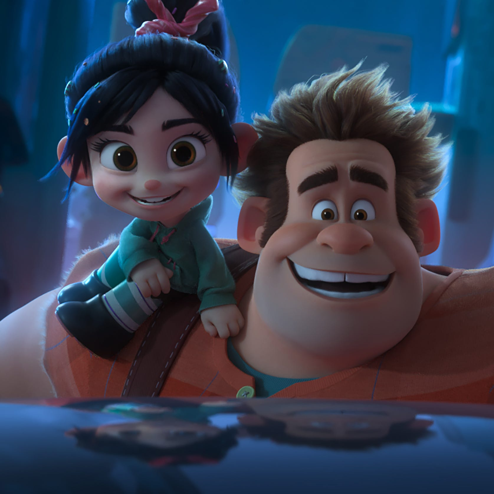 """Vanellope (voiced by Sarah Silverman, left) and Ralph (John C. Reilly) have their close friendship tested in """"Ralph Breaks the Internet."""""""