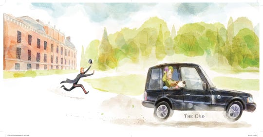 "Doggone cute: Guy catches a ride with the queen in ""His Royal Dogness, Guy the Beagle."""