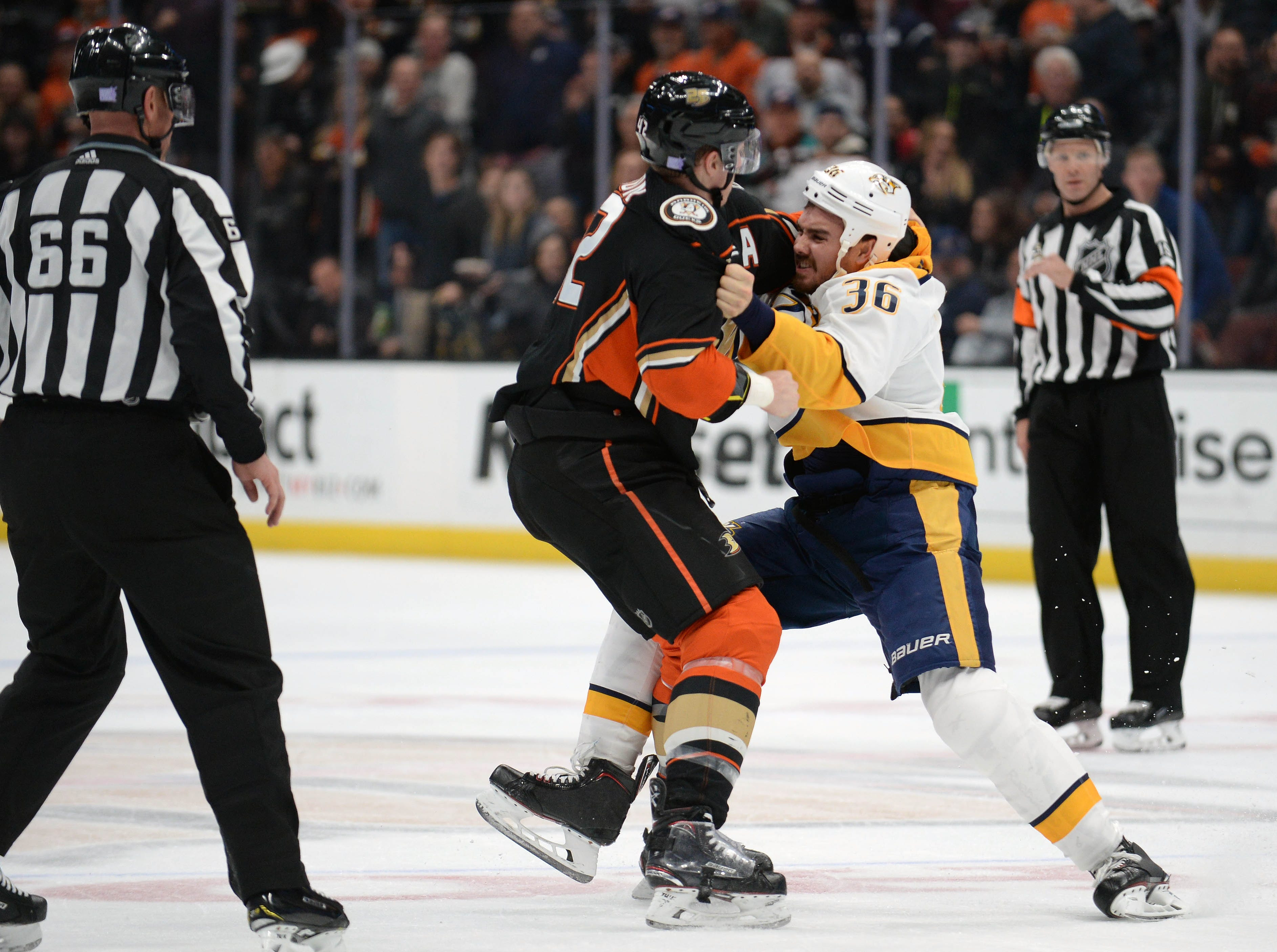 Nov. 12: Anaheim Ducks' Josh Manson vs. Nashville Predators' Zac Rinaldo.