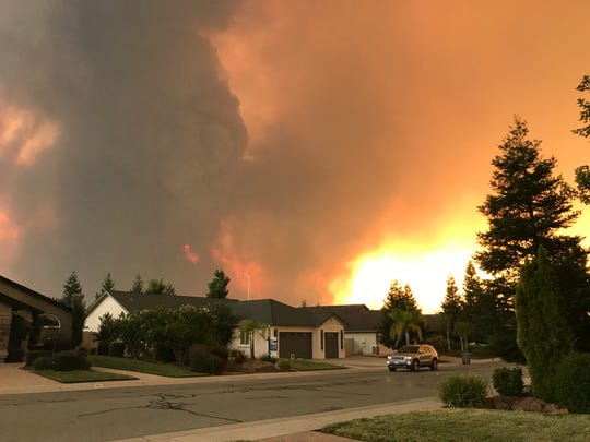 The Carr Fire, as seen from the author's driveway in Redding, California, on July 26, 2018, just before the author's family evacuated.