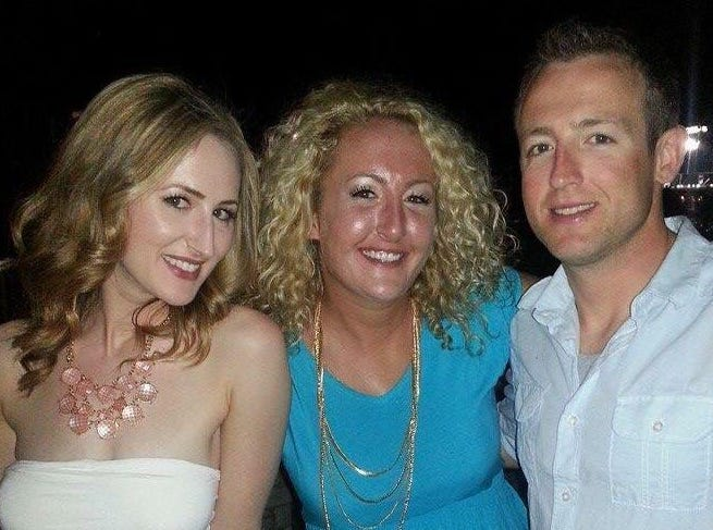 "Sara Myers, 32, died January 29, 2018. She is shown with sister Katie Bertling, left, and brother Matt Myers. When she died, Myers had a blood alcohol level of 0.47% and no previous medical conditions or diagnoses of alcohol-related diseases, Bertling says. Her father and grandfather also died early due to their drinking. Although she always wanted to go to law school, Bertling says Myers' grades started slipping in college and she couldn't get into any.  Instead, Bertling says she kept working in bars, ""immersed in an environment that normalized her drinking and fed the disease that ultimately led to her death."" Her drinking forced her long-term boyfriend whom she expected to marry, to break up with her. That added to ""her feeling of rejection that was only abated by her first love, alcohol,"" says her sister.  ""We all voiced our concerns about her drinking and her future, but Sara was great at making us all feel reassured that she was happy, and we had nothing to worry about. Whenever we pushed the topic, she would get defensive, so we tended to leave it alone thinking it was better to preserve our relationship than push her away.  We hope that her experience and story here will help to inform others of the dangers of alcoholism and alcohol abuse, so that if one person is enlightened, her death wouldn't be in vain,"" says  Bertling."