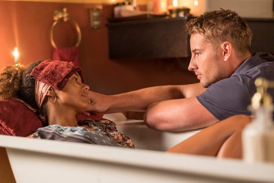 "Melanie Liburd as Zoe and Justin Hartley as Kevin Pearson on ""This Is Us."""