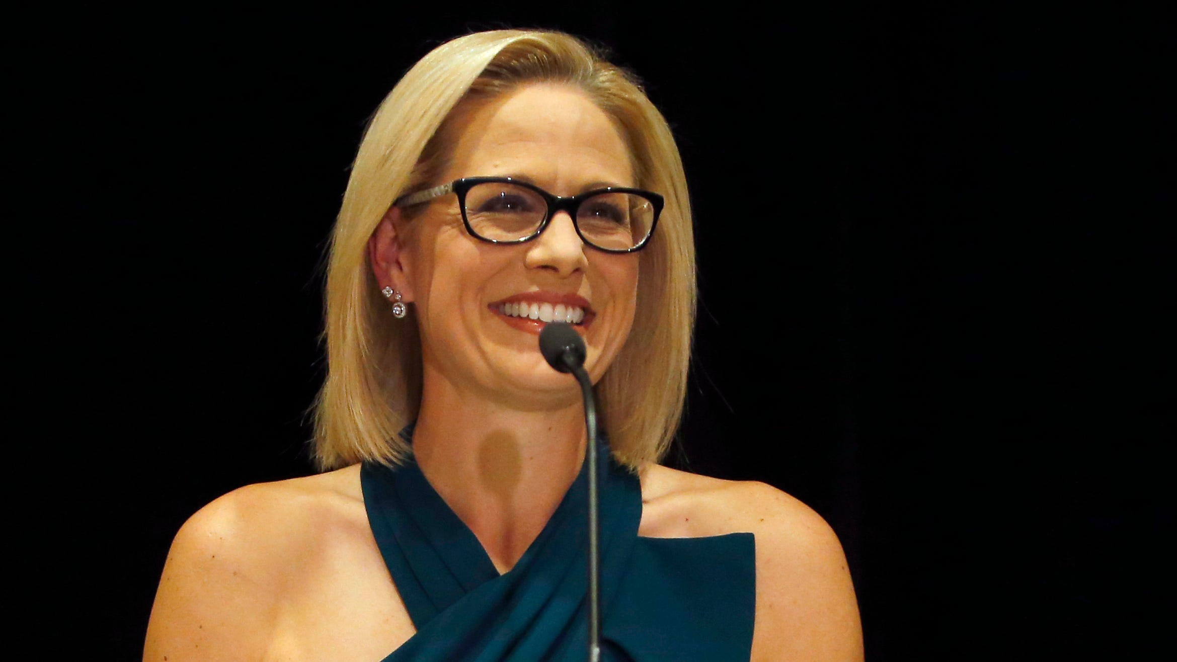 U.S. Sen.-elect Kyrsten Sinema, D-Ariz., declares victory over Republican challenger U.S. Rep. Martha McSally, Nov. 12, 2018, in Scottsdale, Ariz.