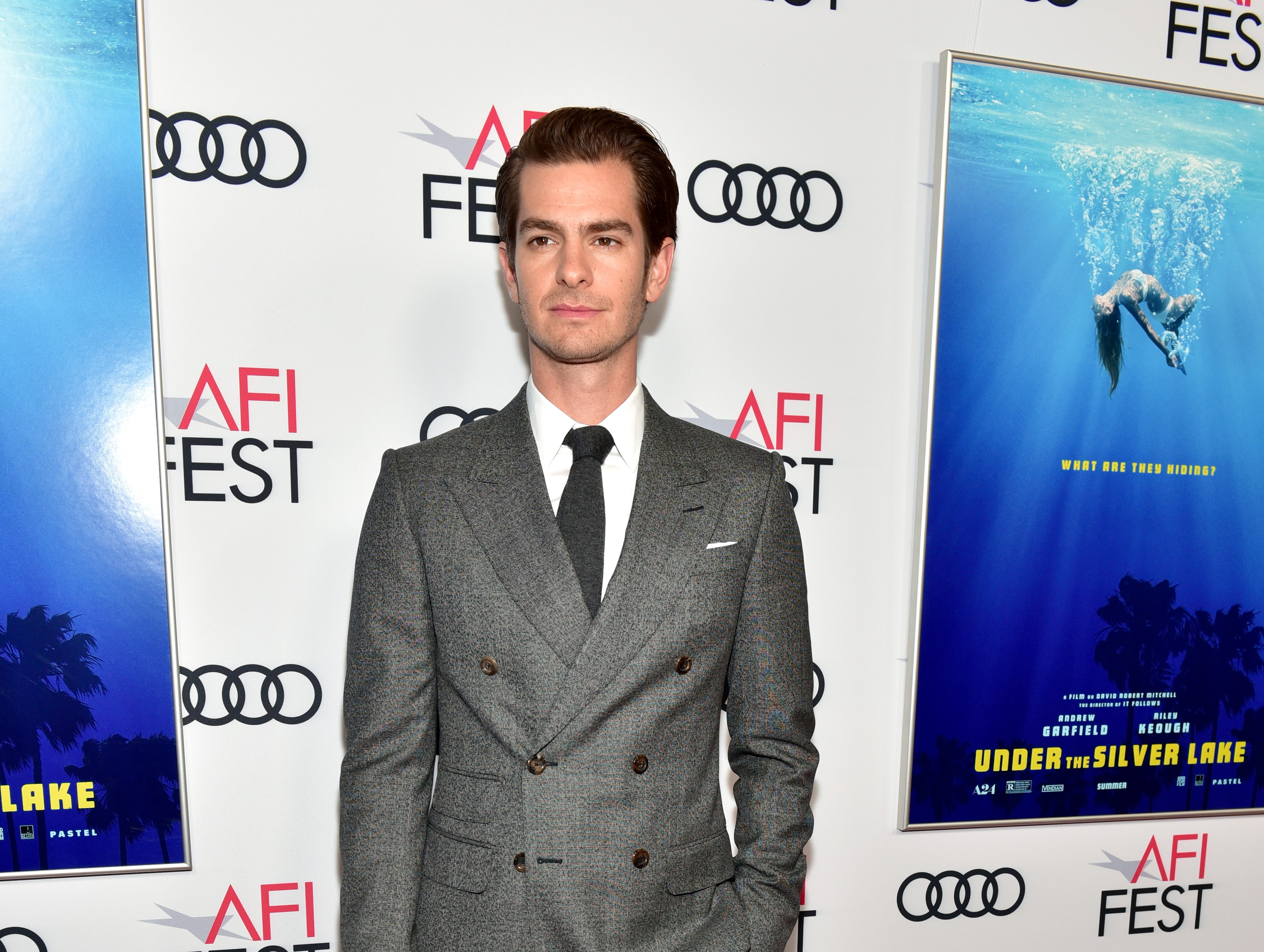 "HOLLYWOOD, CA - NOVEMBER 12:  Andrew Garfield attends the screening of ""Under The Silver Lake"" during AFI FEST 2018 presented by Audi at the Egyptian Theatre on November 12, 2018 in Hollywood, California.  (Photo by Rodin Eckenroth/Getty Images) ORG XMIT: 775252726 ORIG FILE ID: 1060847254"