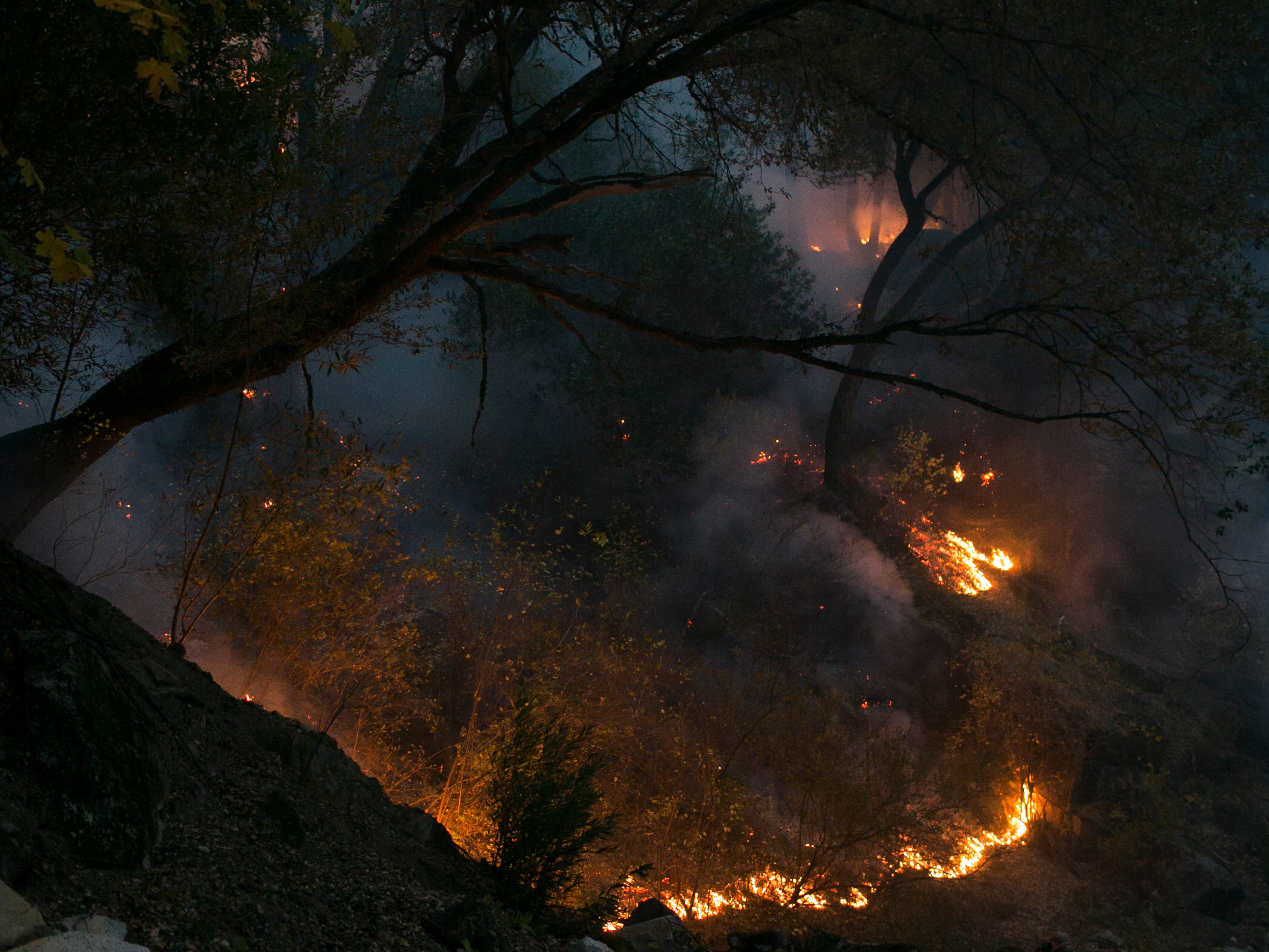 Small lines of fire burn near the front line of the Camp Fire Nov. 12, 2018, in Butte Valley, Calif.