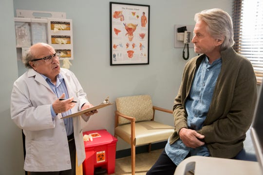 """Danny DeVito guest stars as a urologist confronting the medical problems of Sandy Kominsky (Michael Douglas) in Netflix comedy """"The Kominsky Method."""""""