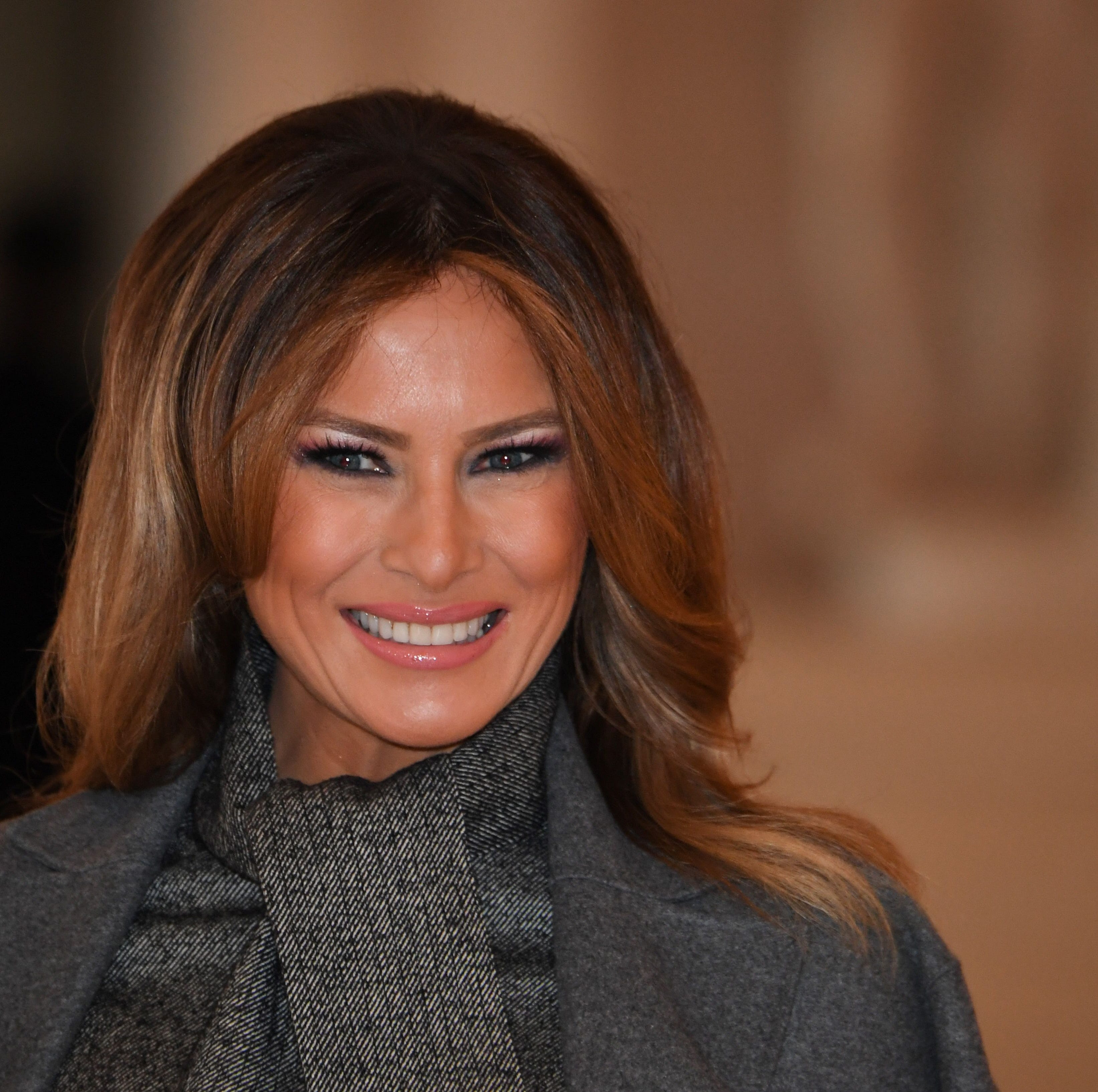 Melania Trump arrives to take part in a spousal event at the Palace of Versailles in Versailles, outside Paris, on Nov. 11, 2018, as part of commemorations marking the 100th anniversary of the armistice ending World War I.