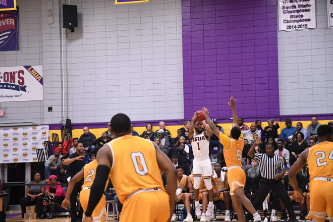 LSUA sophomore guard Brandon Ellis (1) shoots against Xavier Monday night, where he set a new career high with 23 points in the win.