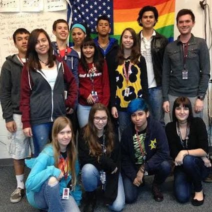 Students pose for a photo during a previous GSA forum, which focused on issues for LGBT youth.