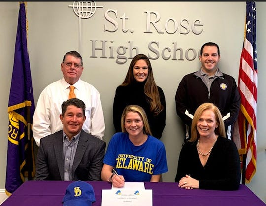 St. Rose swimmer Brenna Harold signed for the University of Delaware on Nov. 14, 2018.