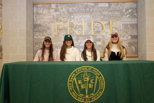 Red Bank Catholic girls soccer signings on Nov. 14, 2018.   They are from Left to Right:  Juliana Rafaniello -UMBC (University of Maryland, Baltimore County) Danielle Borrino - Siena College Sofia Giamenco - Iona College Caroline O'Connor - Virginia Tech