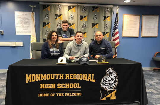 National Signing Day at Monmouth Regional on Nov. 14, 2018. (Family) (L-R) Maria Ciaramella , Christian Ciaramella, Dante Ciaramella, Greg Welsh