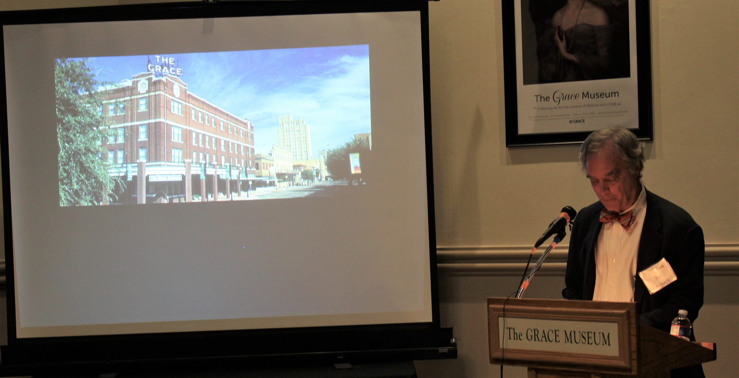 "Stephen Fox, an expert on architecture, lectured on the work and impact of Abilene-based architect David S. Castle, the subject on a Grace Museum exhibit titled ""Skyline Maker."""