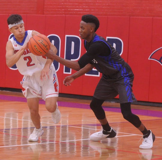 Cooper's Jose Rodriguez, left, battles Abilene Christian High's Josh Body for a loose ball. Cooper beat the Panthers 68-56 in the nondistrict boys basketball game Tuesday, Nov. 13, 2018, at Cougar Gym.