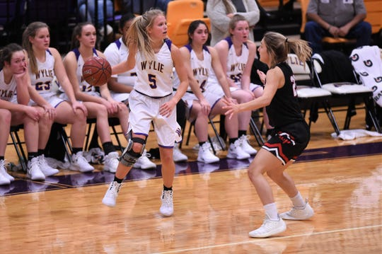 Wylie's Emma Melton (5) was one of the first options off the bench until a suffering an injury last Friday. Melton joins senior Kamryn Dry on the bench with season-ending injuries.