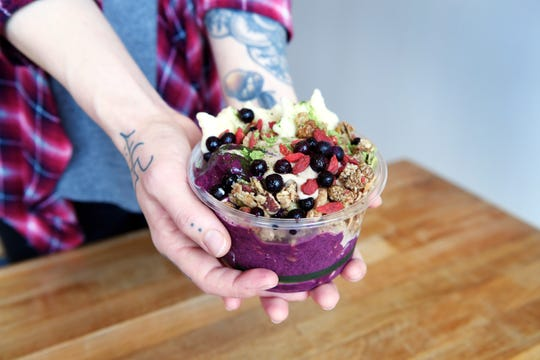 A blueberry smoothie bowl from Elements Real Food in Asheville Nov. 14, 2018.