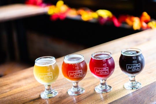 Eurisko Beer Company's Kleiner Pilsner, Sierra Nevada's Northern Hemisphere, New Belgium's Transatlantique Kriek and Pisgah Brewing's Blackstrap Pumpkin Porter, all offered at the Asheville Club on Haywood Street in downtown Asheville.
