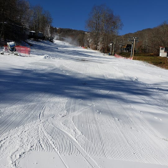 Lower Flying Mile ski slope at Sugar Mountain opened for the season Nov. 11. The Avery County ski area has remained open since then.
