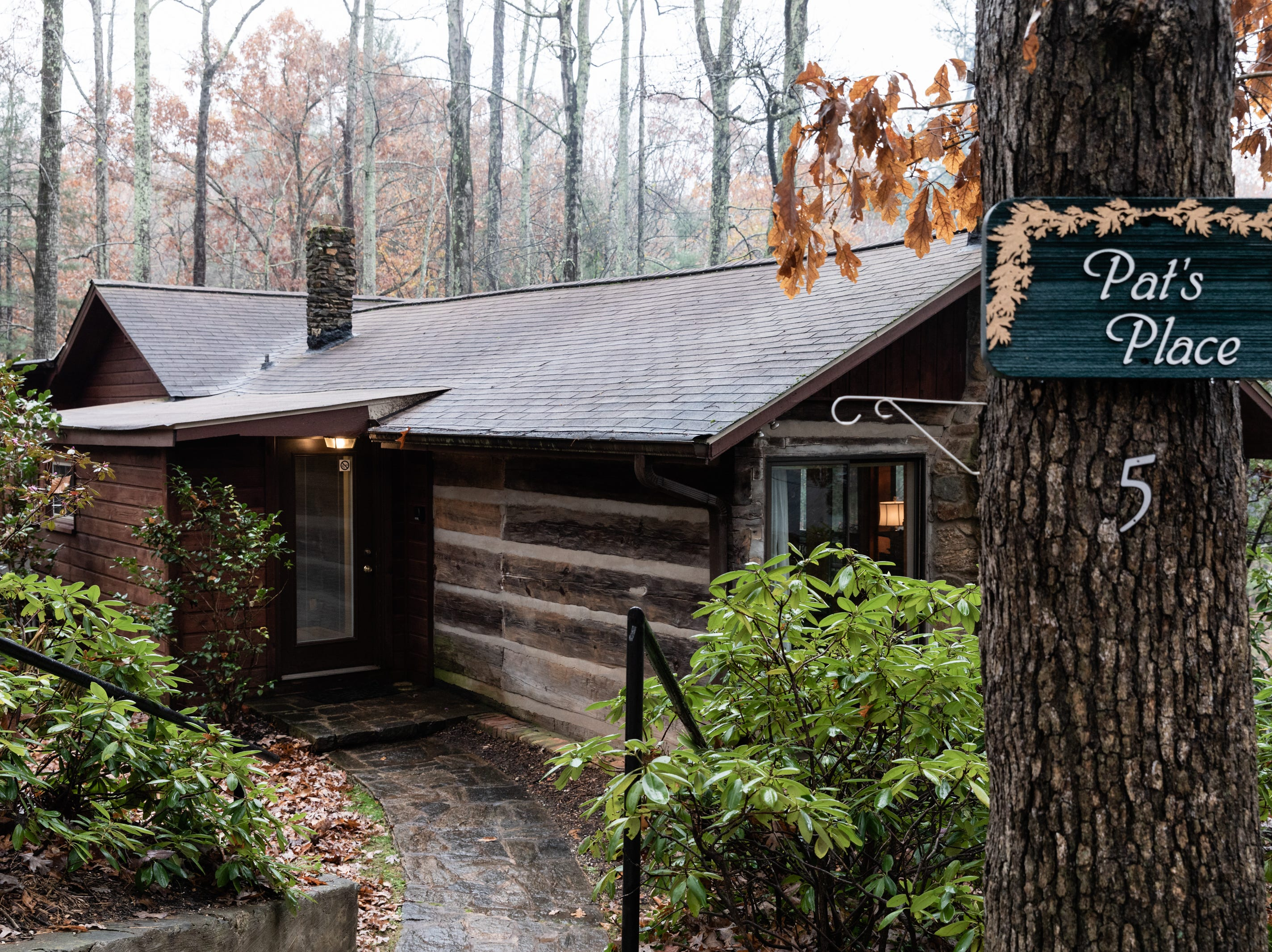 Pat's Place, an original 1800's log cabin at the McLeod family's Asheville Cabins of Willow Winds vacation rentals in South Asheville off of Sweeten Creek Road.