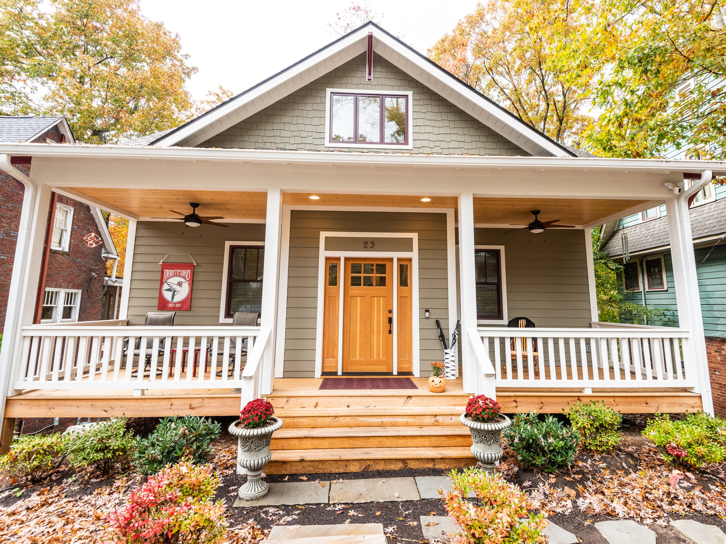 The home is new construction but incorporates Art & Crafts elements to feel at home in Montford.