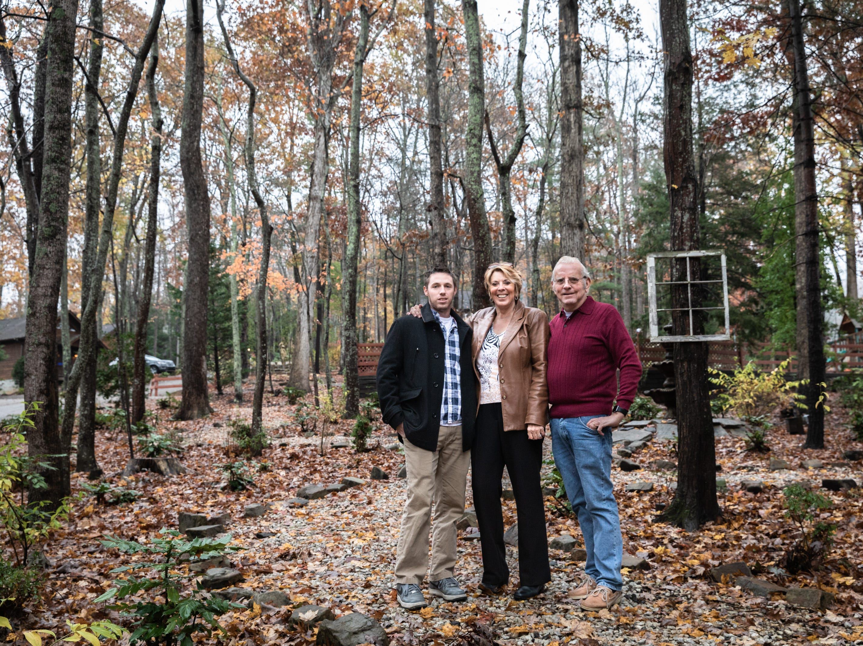 Chris McLeod, his mother Sandy McLeod, and Michael McLeod, owners of Asheville Cabins of Willow Winds vacation rentals in South Asheville off of Sweeten Creek Road.