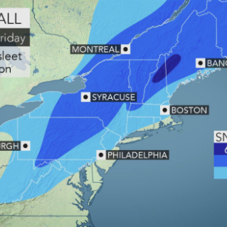 Expected snowfall Nov. 14-15, 2018