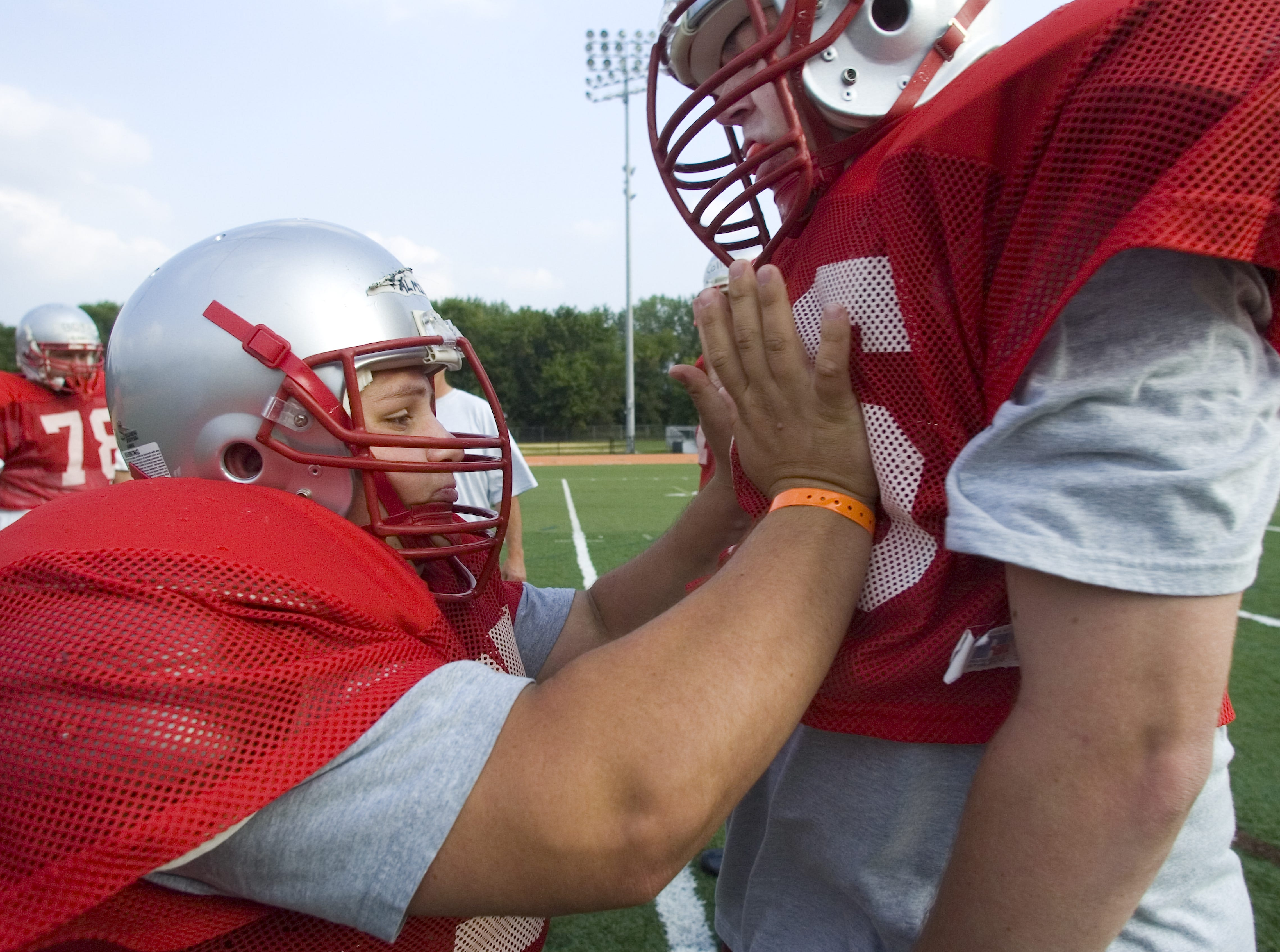From 2007: Chenango Valley's Vince Palmieri, left, as he punch drills teammate Rich Dickerson on Wednesday during the last of the three days of the second annual T-N-T Football Camps at Union-Endicott High School Ty Cobb Stadium.