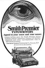 An advertisement for the Smith-Premier Typewriter, about 1890.