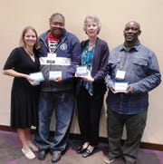 From left, Helping Celebrate Abilities  employees Katie Sturek, physical therapist; Mandel White, residential manager; Patricia Travis, administrative support; and George Mbego, direct support professional, were all recognized for their hard work at the New York State Cerebral Palsy Annual Conference in Saratoga.