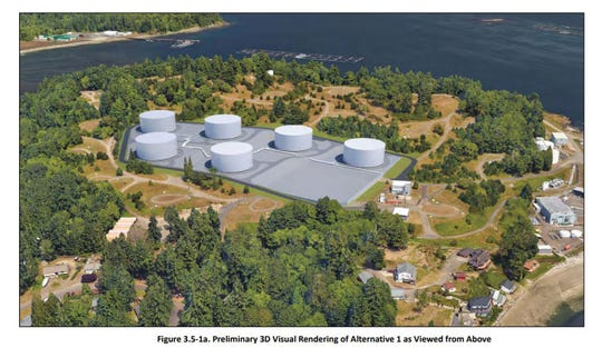 Rendering of future fuel storage tank upgrades at Naval Base-Kitsap Manchester.