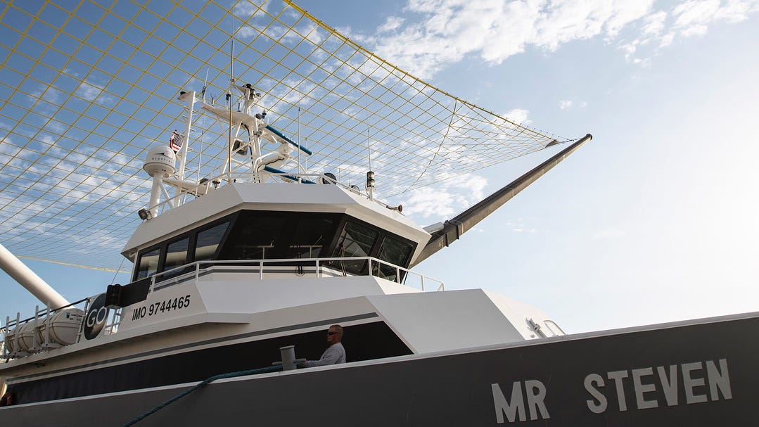 SpaceX's fairing-catching boat, named Mr. Steven.