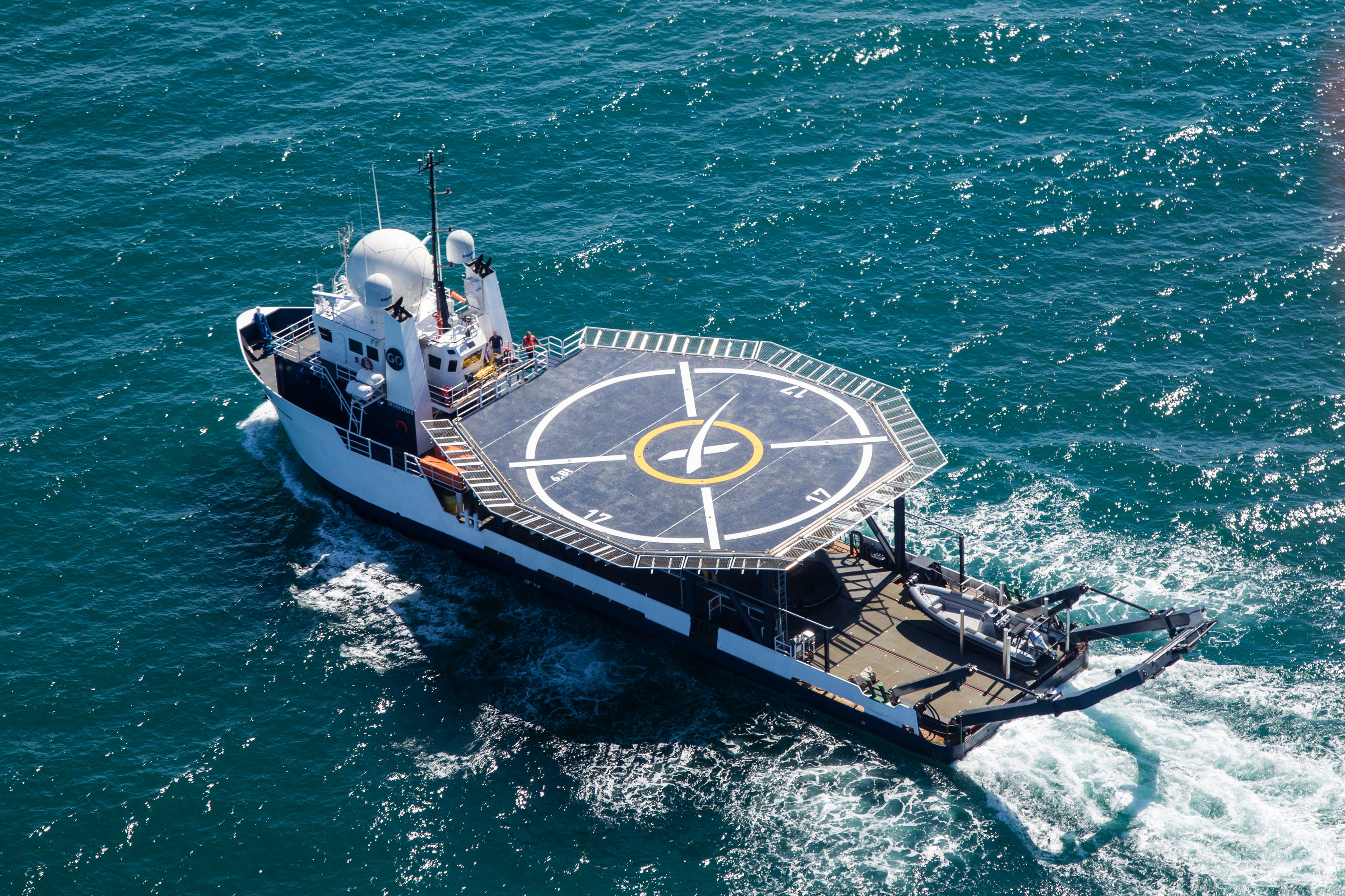 Go Searcher, another SpaceX ship, has been outfitted for recovery of astronauts from the company's Crew Dragon spacecraft.