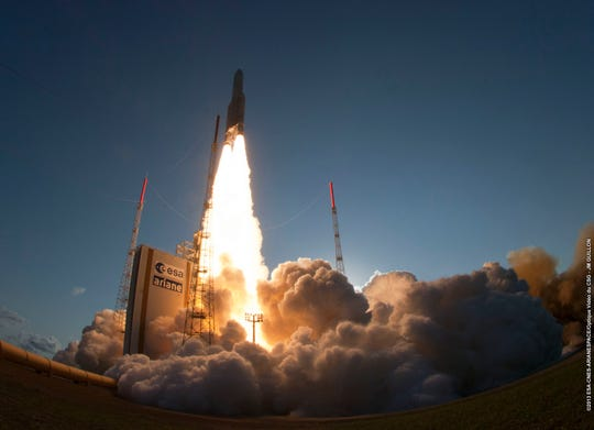 Qatar's first communications satellite, Es'hail-1, launched in 2013 aboard a European Ariane 5 rocket.